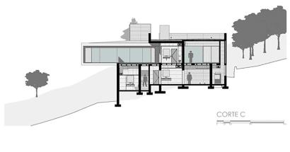 Plano de corte de casa moderna C