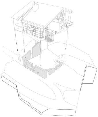 Plano de muros de moderna casa en montaña