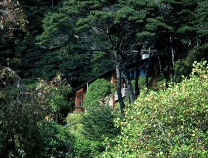 Vista de casa en la montaña