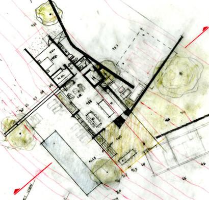 Croquis de plano de casa de un piso o nivel