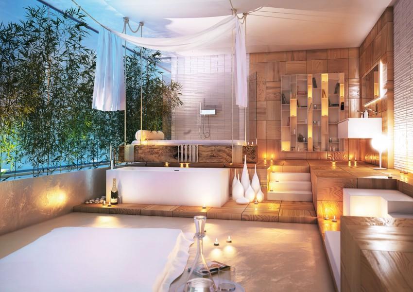 Baño Relajante Jacuzzi:Modern Master Bathroom Designs