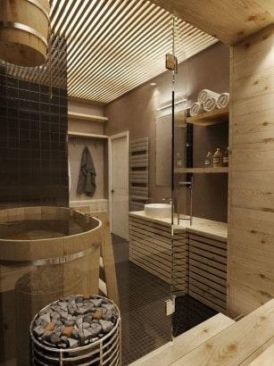 Diseño de cuarto de baño con sauna 2