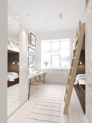 Diseño de dormitorio con pequeño estudio