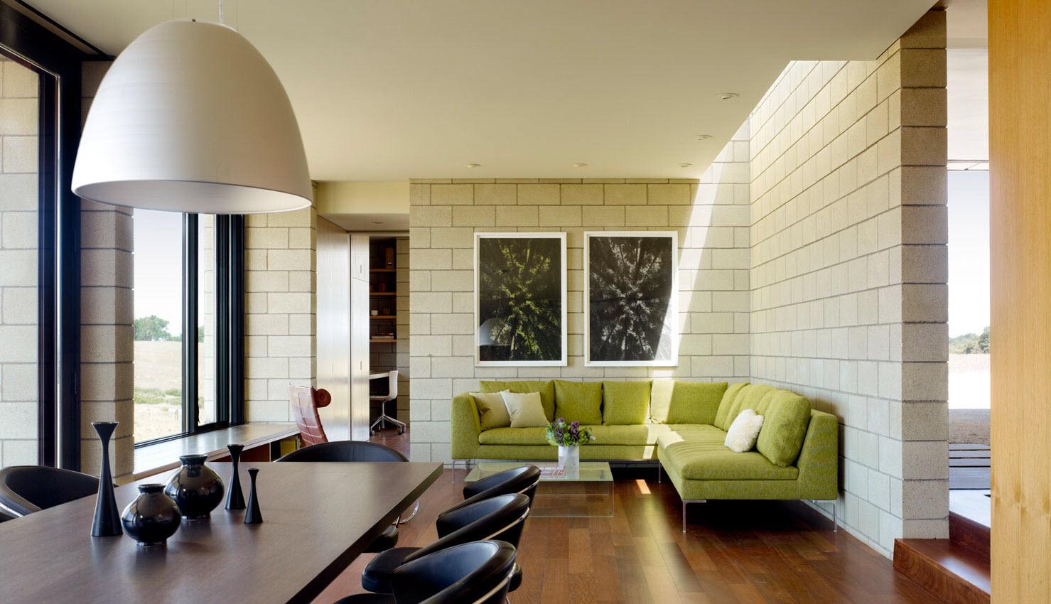 Dise o de casa moderna de un piso de ladrillo caravista for Diseno de pisos interiores
