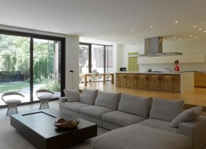 Diseño de sala comedor y cocina moderna