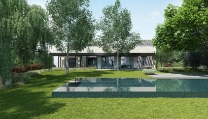 Fachada posterior de casa de un piso con piscina