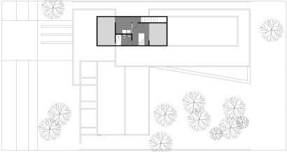 Plano de sótano de casa en forma de L