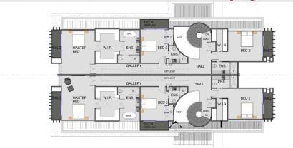 Plano de segundo piso dividida en dos