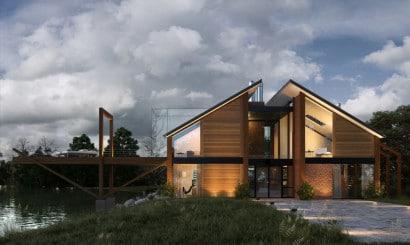 Diseño de casa de madera moderna