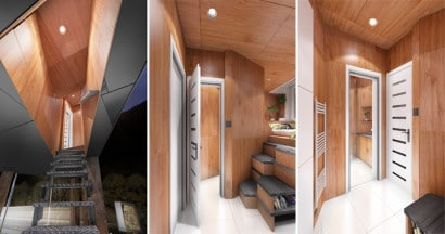 Diseño de interiores de casa triangular