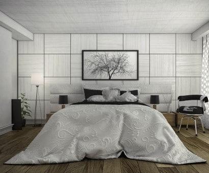 Diseño de moderno dormitorio gris, Blckwtrpark