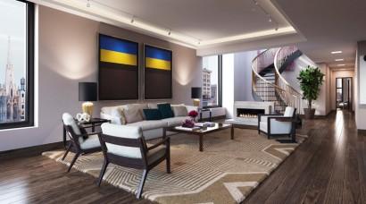 Diseño de sala de lujo de apartamento