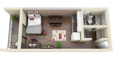 Plano apartamento de un dormitorio Central Park Rexburg Apartment