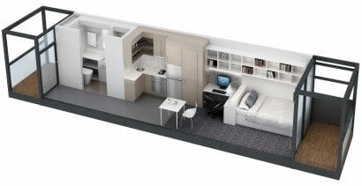 Plano de apartamento de un dormitorio  Australian National University