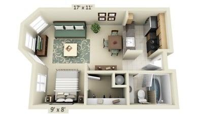 Plano de apartamento de un dormitorio UDR