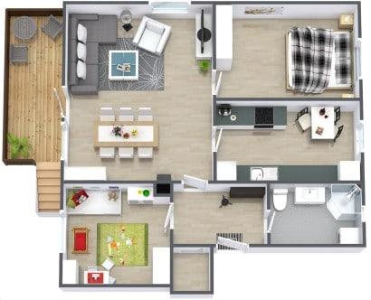 Plano de apartamento en 3D  Casa Planology