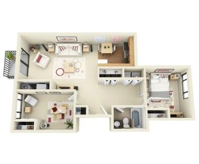 Plano de apartamento en 3D Cumbre Chase Apartamentos