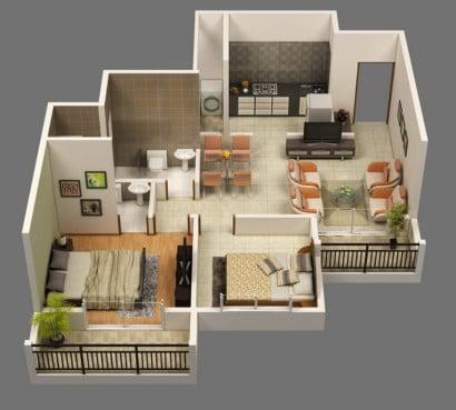 Plano de apartamento en 3D Espacio Dart