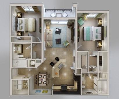 Plano de apartamento en 3D vía  Bridges At Kendall Place