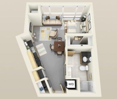 Plano de apartamento pequeño Solhaus