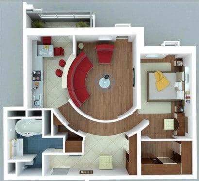 Plano de apartamento pequeño moderno Tiziana Caroleo en Pinterest