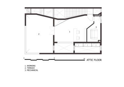 Plano de azotea de casa de tres pisos