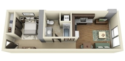 Plano de departamento de un dormitorio Ladd Carriage House