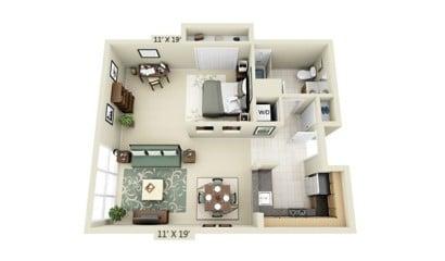 Plano de departamento de un dormitorio UDR