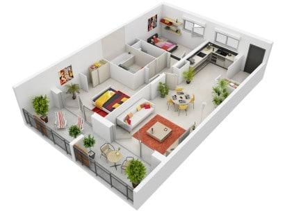 Plano de departamento en 3D Jermey Gamelin