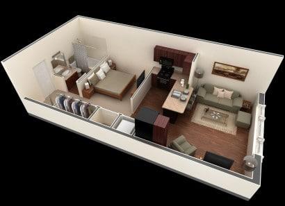Plano de departamento muy pequeño Springs Apartments
