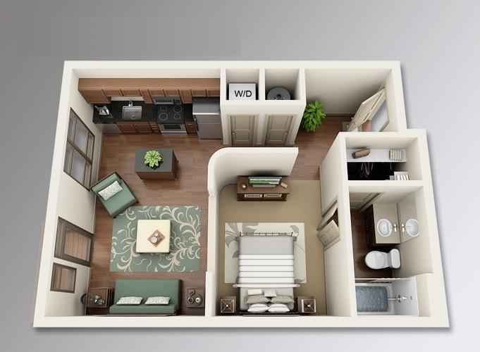 Planos de apartamentos peque os de un dormitorio dise os for Cocinas en departamentos pequenos