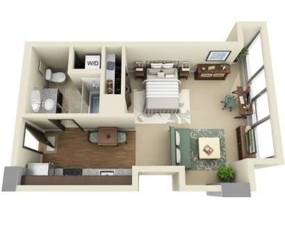 Plano de departamento pequeño de un dormitorio  Ladd Carriage House