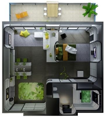 Plano de departamento pequeño orgánico Huso