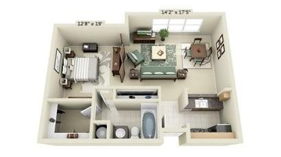 Plano de mini departamento de un dormitorio UDR