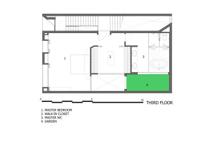 Plano del tercer piso de la moderna casa