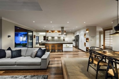 Decoración de interiores de sala comedor y cocina
