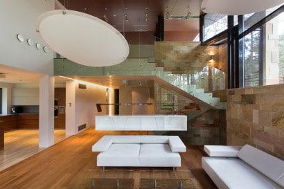Decoración de interiores moderno de casa de campo