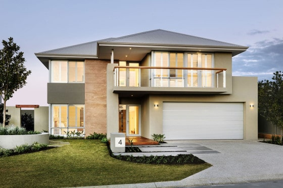 Dise o de casa moderna de dos pisos fachada e interiores for Casa moderna a dos aguas