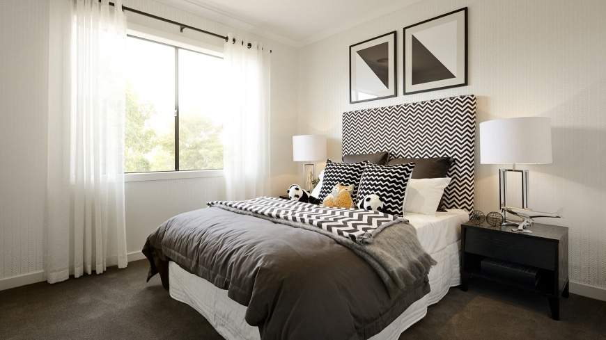 Casa de un piso moderna dos fachadas y dise o interior - Dormitorios blanco y negro ...
