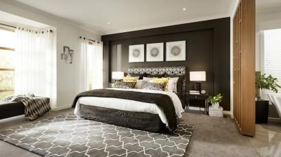 Diseño de dormitorio principal en blanco  y negro
