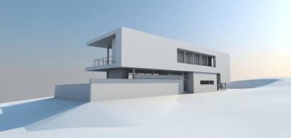 Maqueta de moderna casa de dos pisos