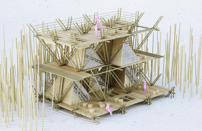 Maqueta de vivienda de bambú