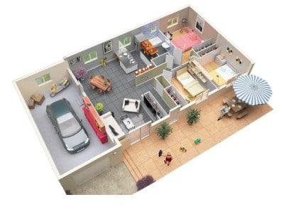 Plano de apartamento de 3 habitaciones Oxyzone