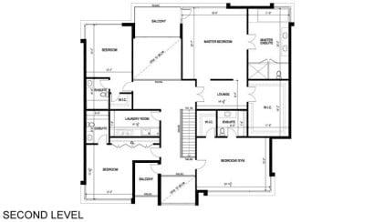 Plano de casa de segundo nivel