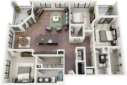 Plano de departamento de 3 habitaciones Crescent 9th Street