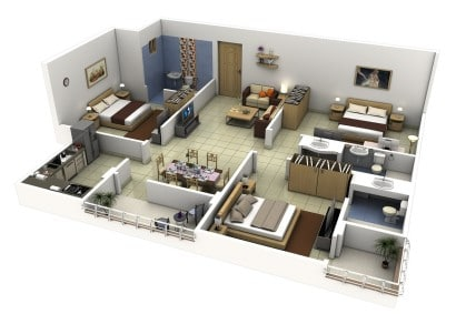 Plano de departamento de 3 habitaciones Tech N Gen