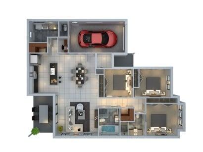 Plano de departamento de tres habitaciones Budde Design