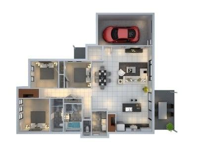Planos de apartamento de 3 habitaciones Budde Design