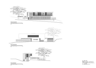Planos de elevación de moderna casa de dos plantas