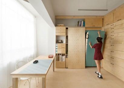 Cama empotrada en la pared para apartamento